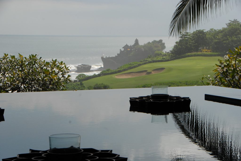 Tanah Lot temple from still existing Pan Pacific hotel